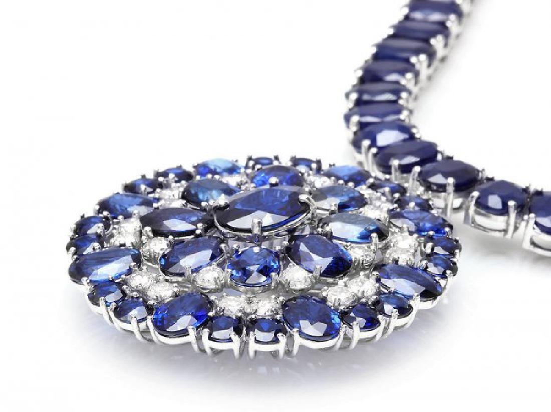 14k Gold 94ct Sapphire 1.80ct Diamond Pendant - 3