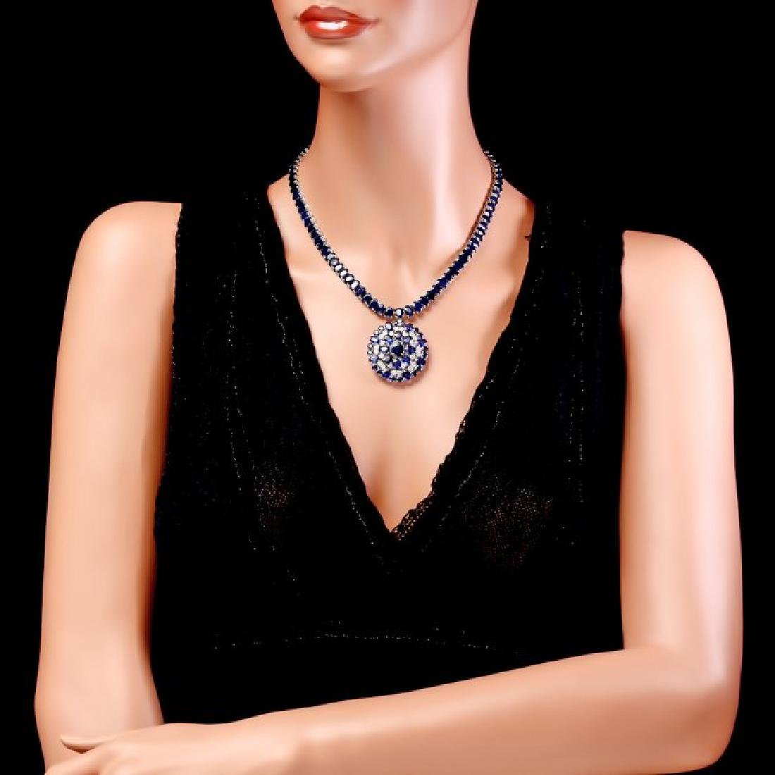 14k Gold 94ct Sapphire 1.80ct Diamond Pendant - 5