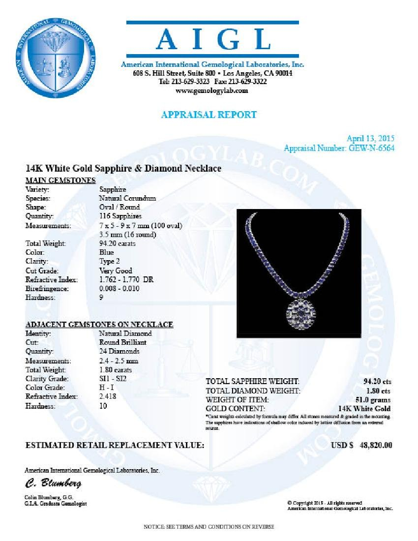 14k Gold 94ct Sapphire 1.80ct Diamond Pendant - 7