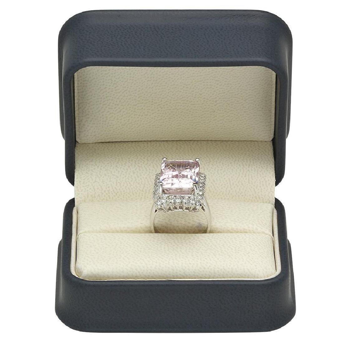 14K Gold 15.94ct Kunzite 1.18ct Diamond Ring - 4