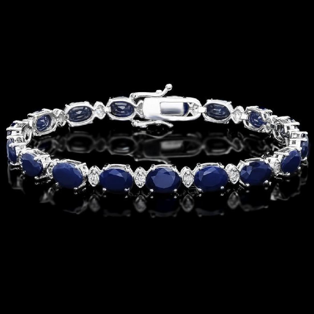 14k Gold 25ct Sapphire 0.80ct Diamond Bracelet