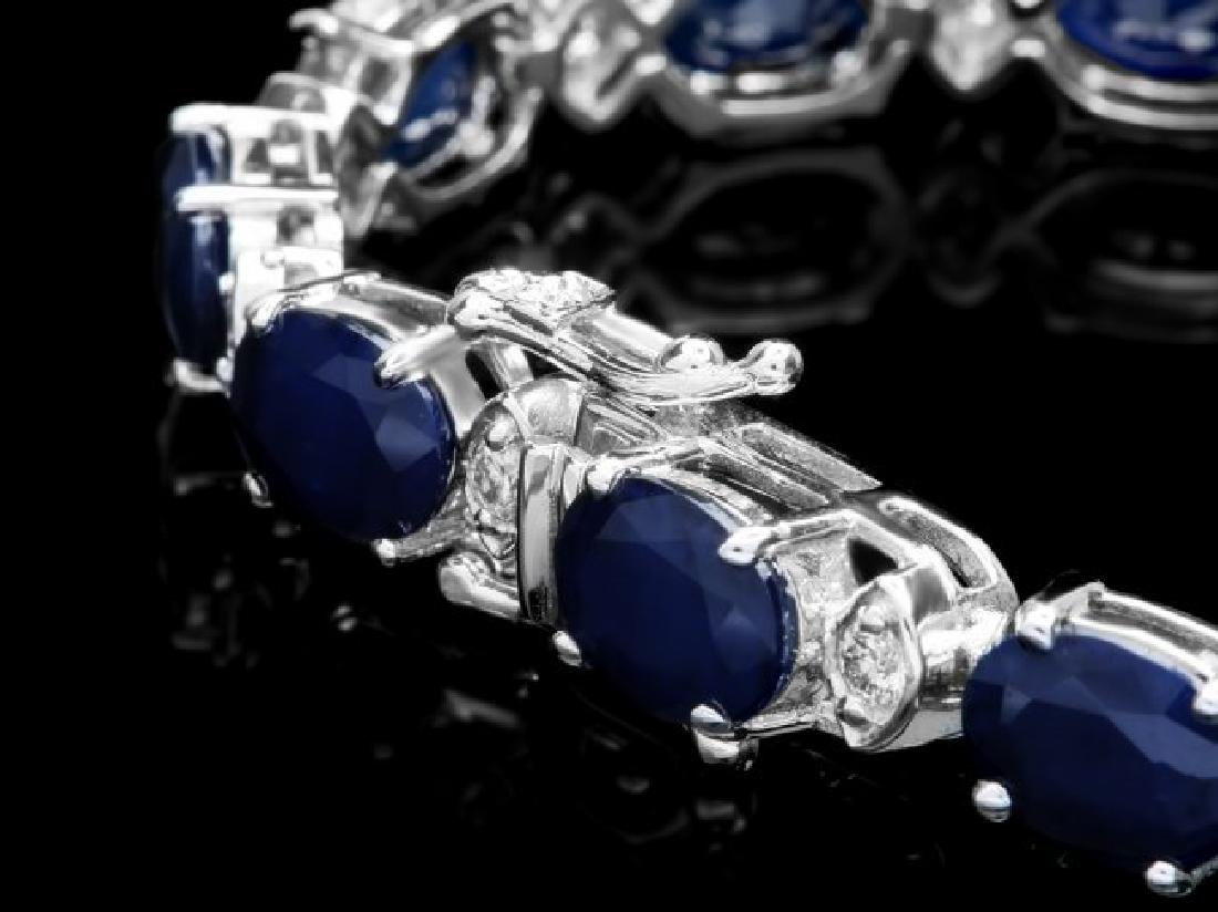 14k Gold 25ct Sapphire 0.80ct Diamond Bracelet - 2