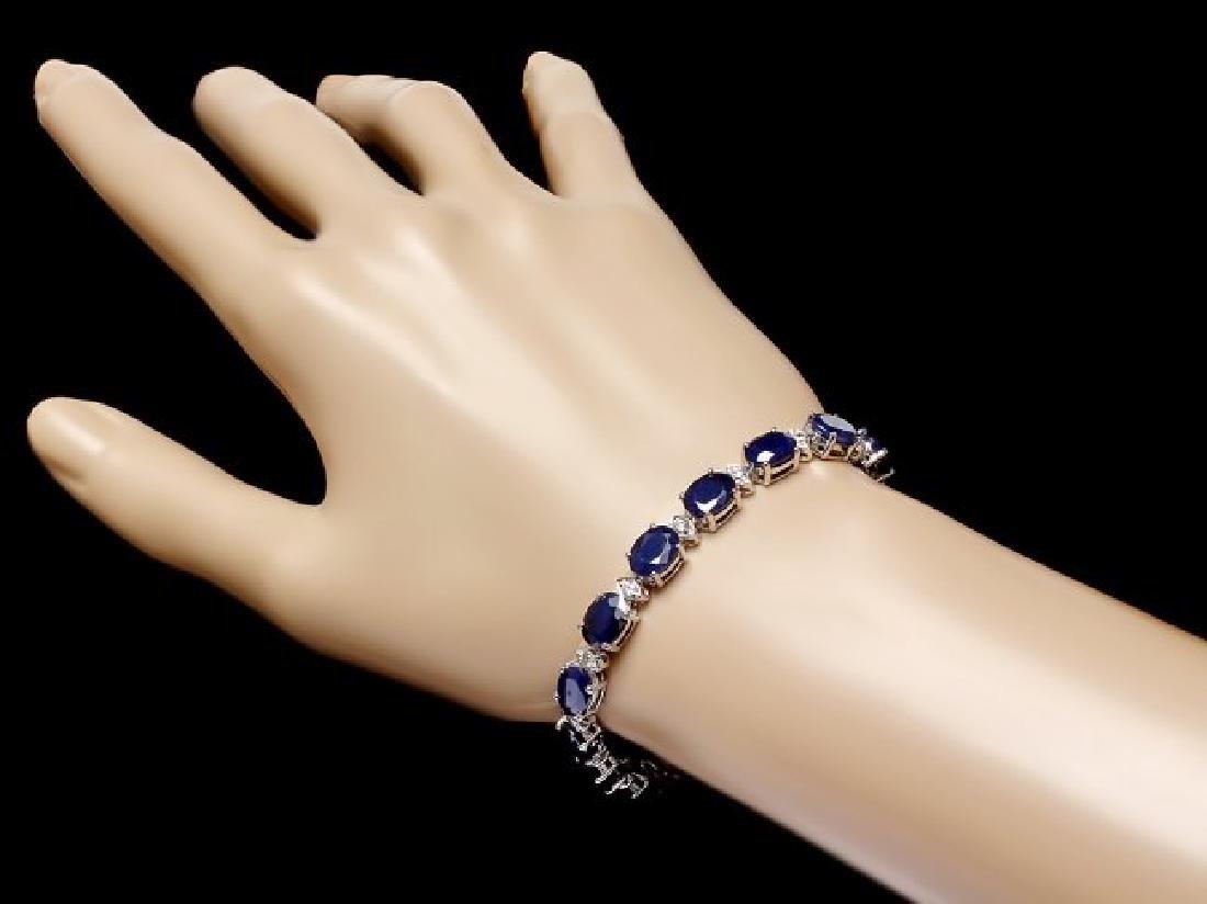14k Gold 25ct Sapphire 0.80ct Diamond Bracelet - 4