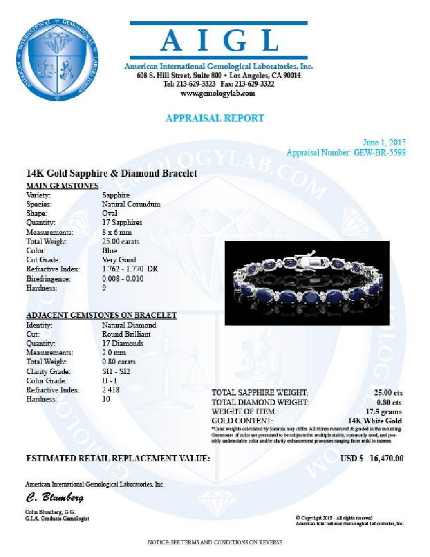 14k Gold 25ct Sapphire 0.80ct Diamond Bracelet - 5