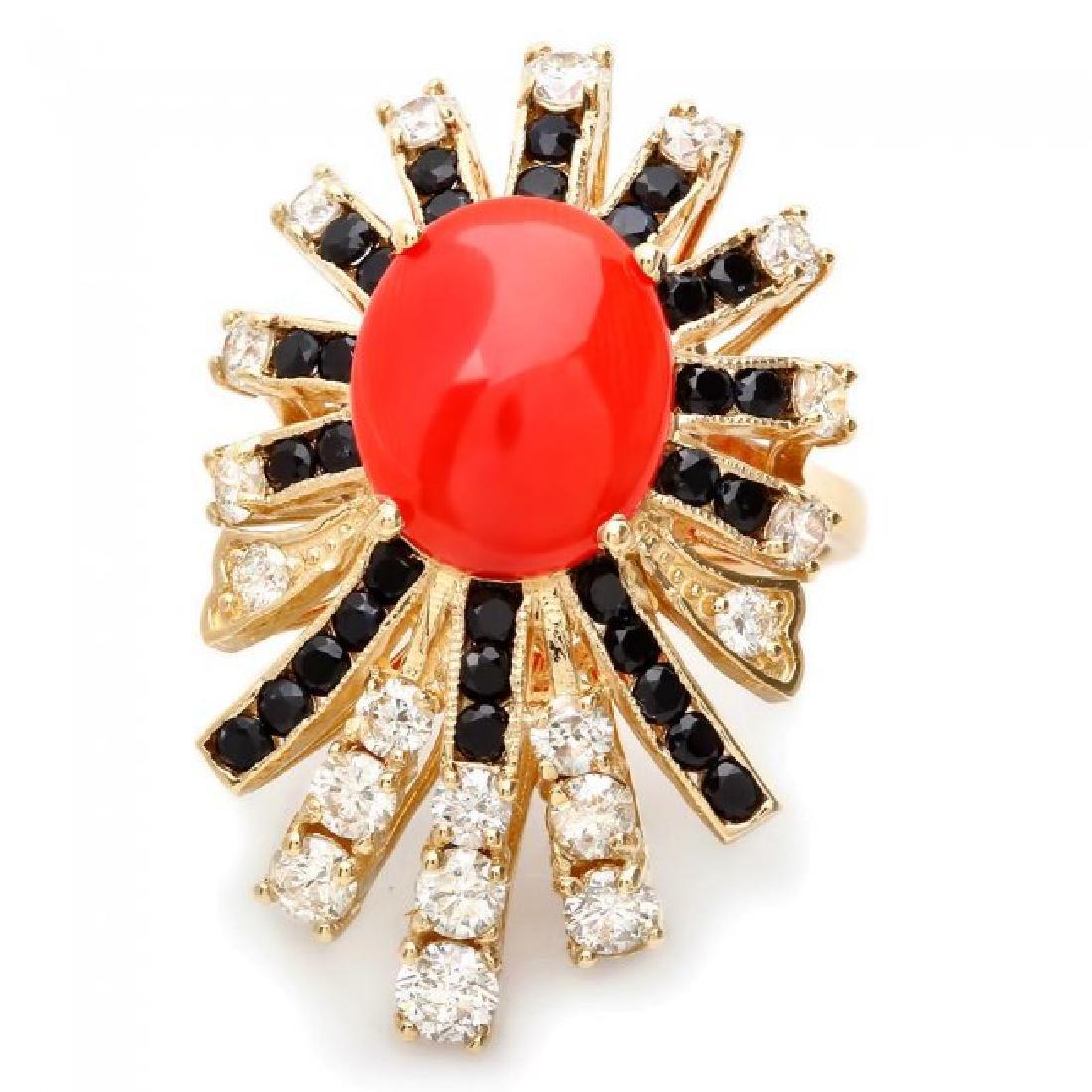 14k Yellow Gold 3.00ct Coral 1.55ct Diamond Ring - 2