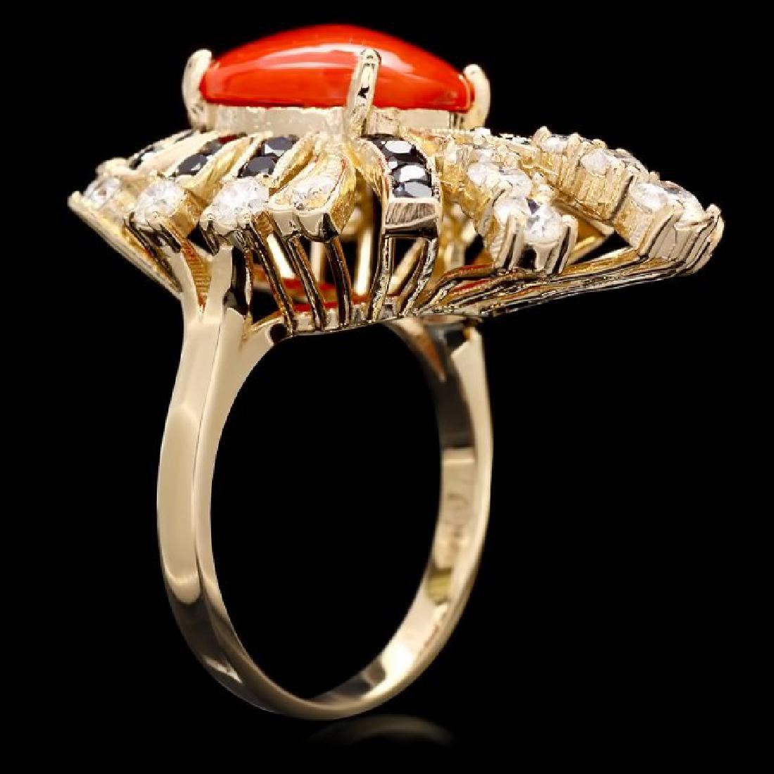 14k Yellow Gold 3.00ct Coral 1.55ct Diamond Ring - 3