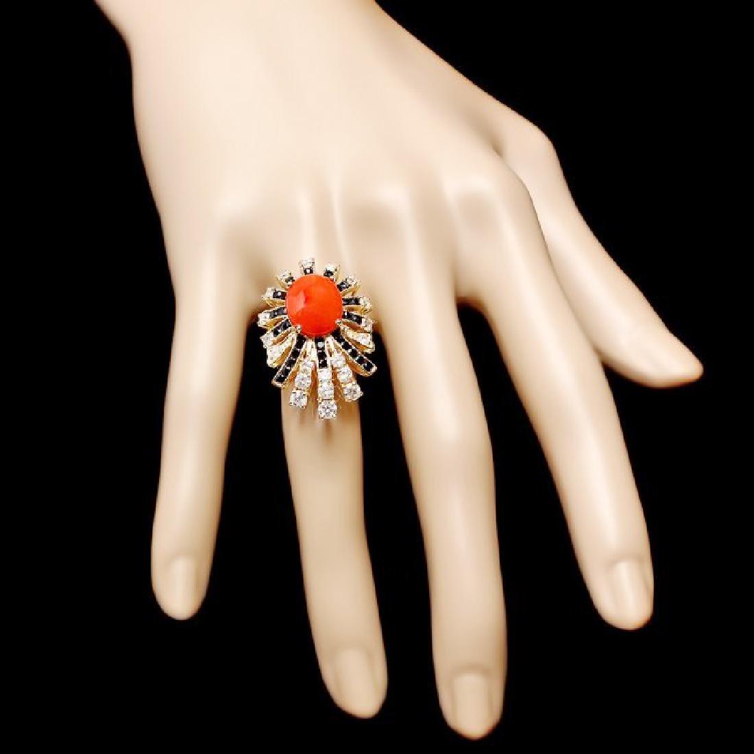 14k Yellow Gold 3.00ct Coral 1.55ct Diamond Ring - 4