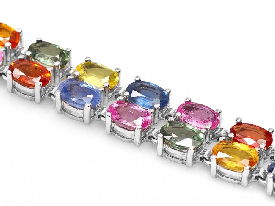 14k Gold 29ct Sapphire 0.40ct Diamond Bracelet - 2