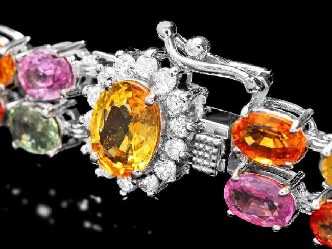 14k Gold 29ct Sapphire 0.40ct Diamond Bracelet - 3