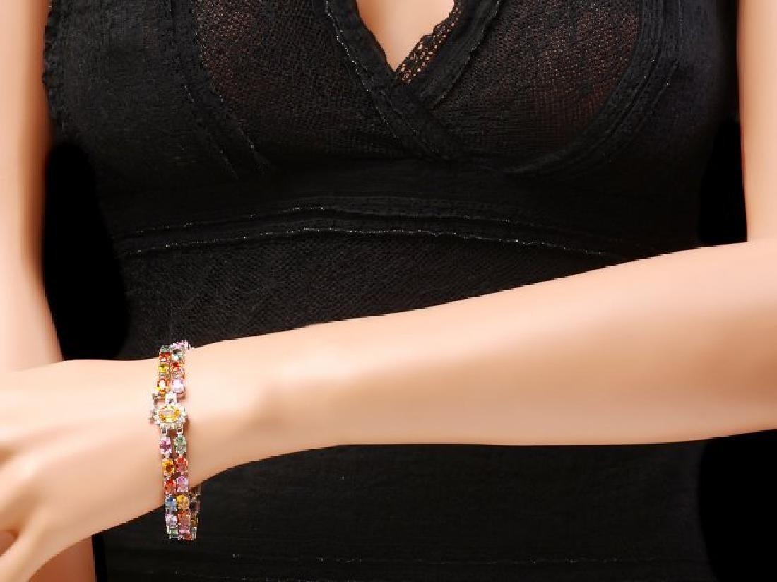 14k Gold 29ct Sapphire 0.40ct Diamond Bracelet - 4