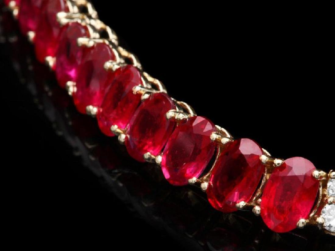 14k Gold 52.00ct Ruby 1.00ct Diamond Necklace - 2