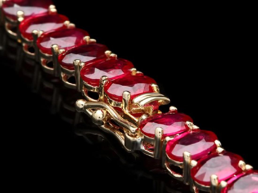 14k Gold 52.00ct Ruby 1.00ct Diamond Necklace - 3