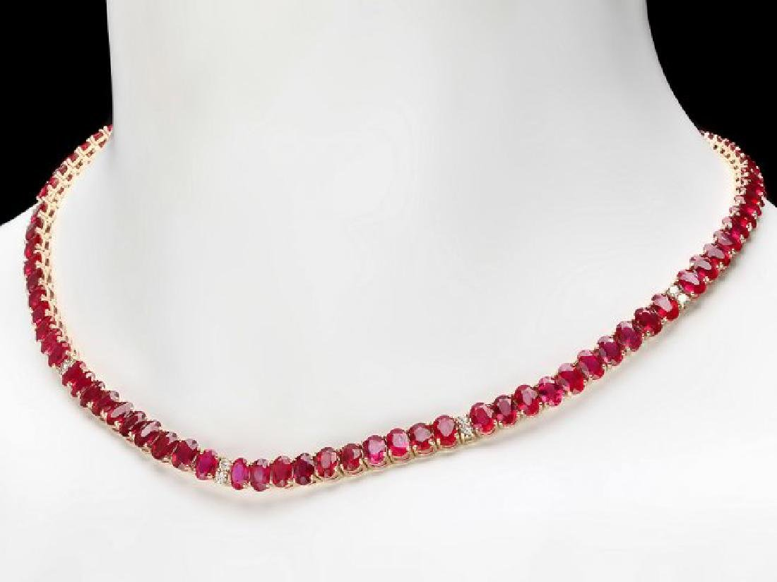 14k Gold 52.00ct Ruby 1.00ct Diamond Necklace - 4