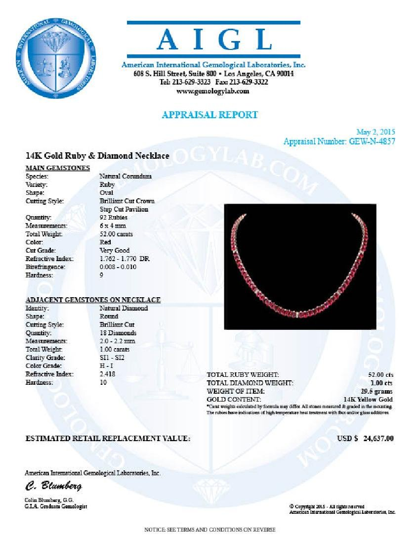 14k Gold 52.00ct Ruby 1.00ct Diamond Necklace - 6