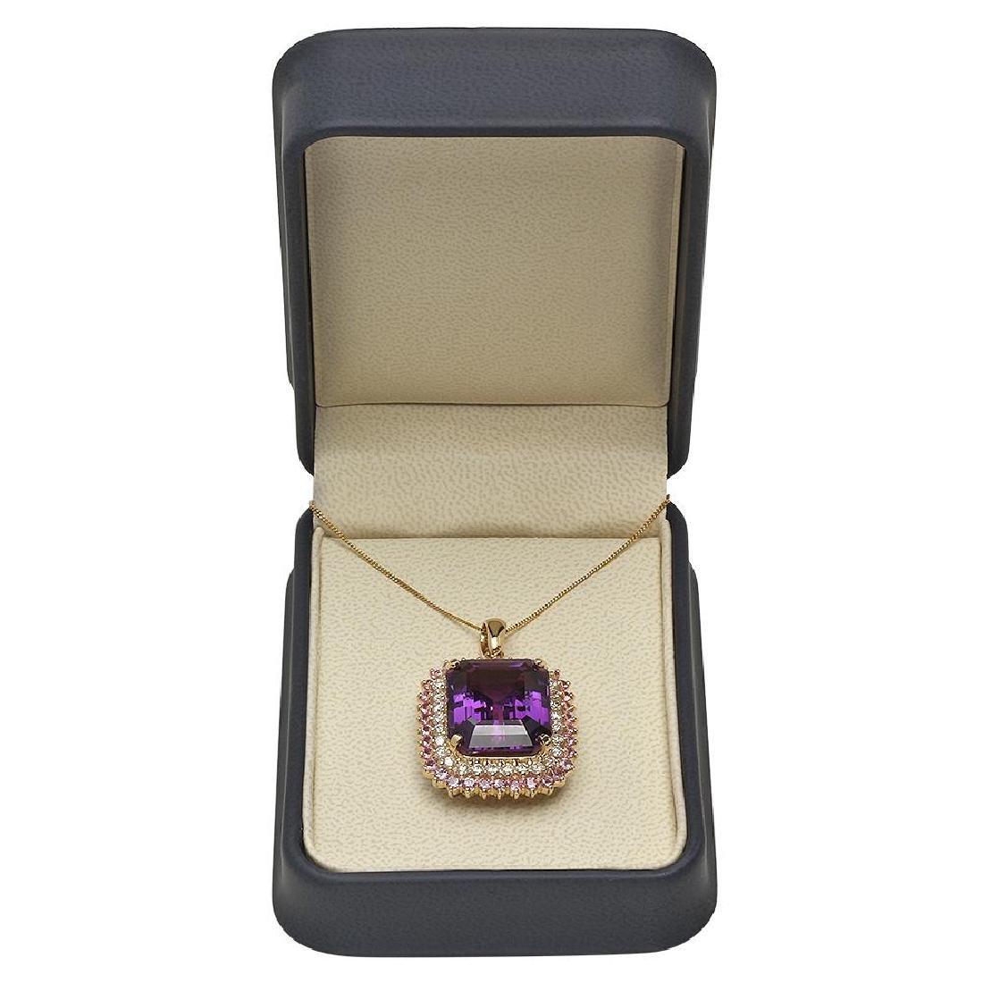 14K Gold 25.44ct Amethyst 2.03ct Sapphire 1.51ct - 4