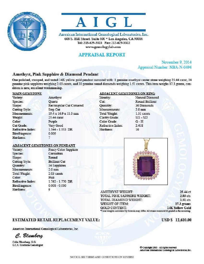 14K Gold 25.44ct Amethyst 2.03ct Sapphire 1.51ct - 5