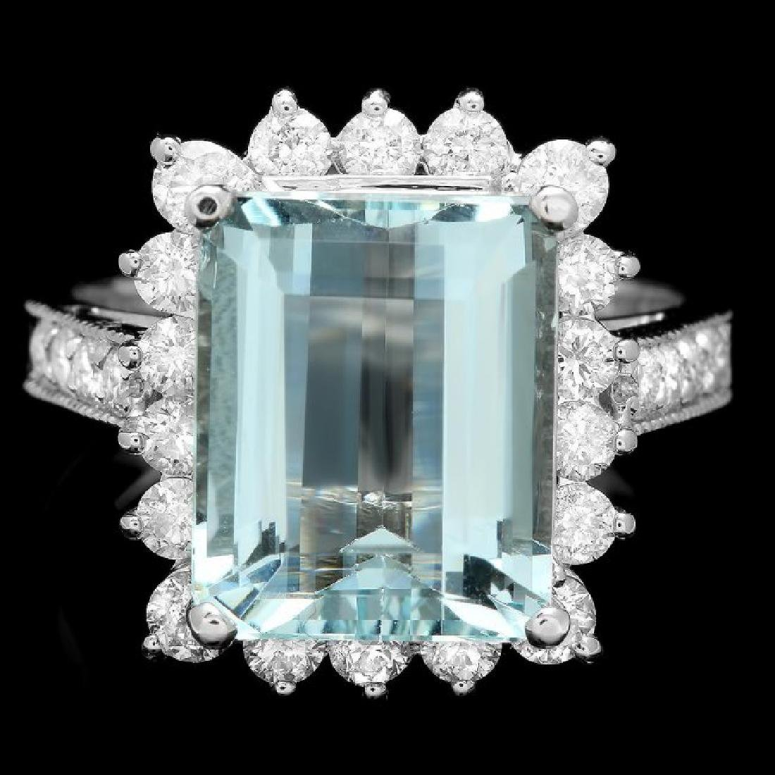 14k Gold 5.00ct Aquamarine 1.15ct Diamond Ring