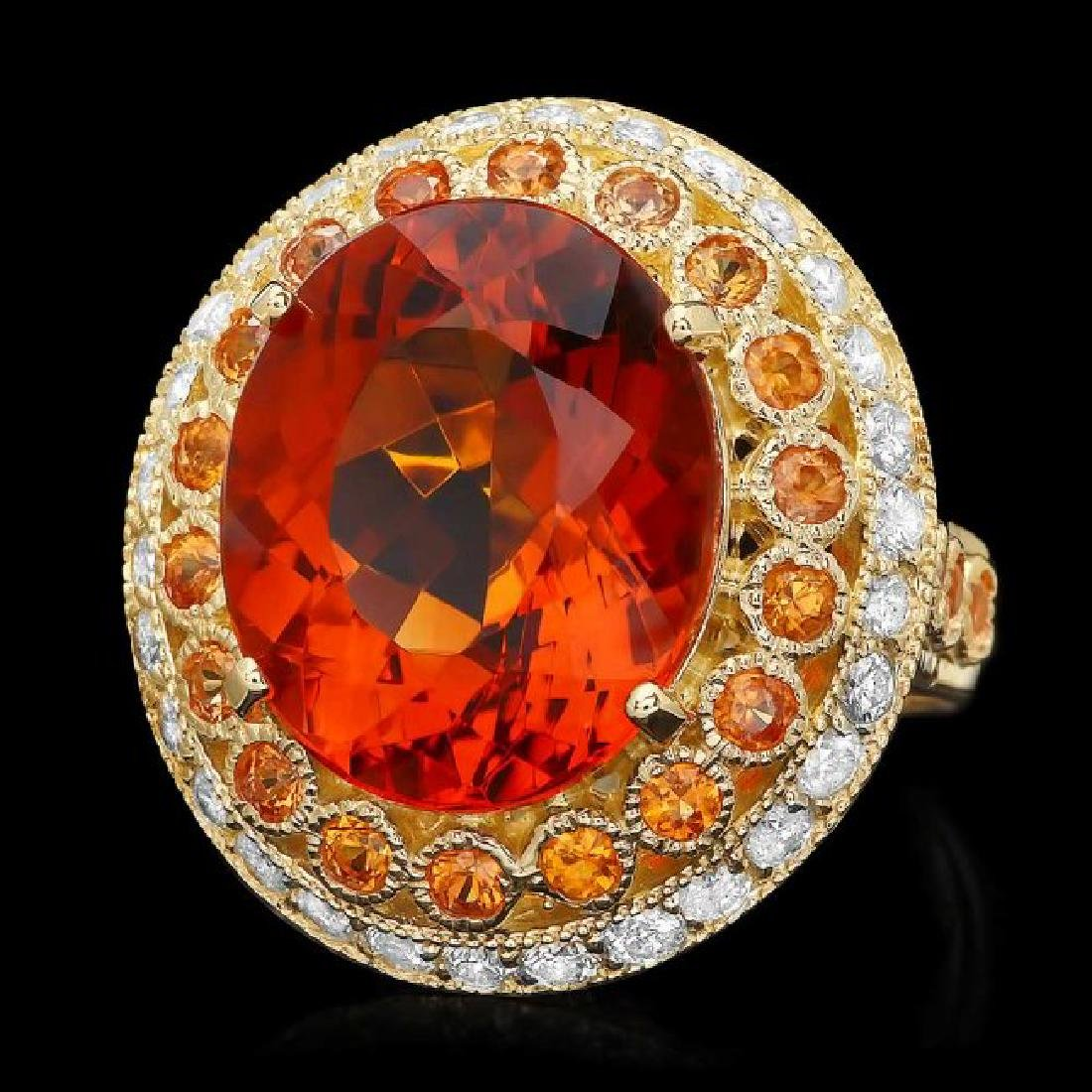 14k Gold 10.00ct Citrine 1.00ct Diamond Ring