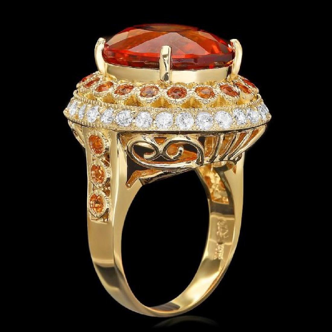 14k Gold 10.00ct Citrine 1.00ct Diamond Ring - 2