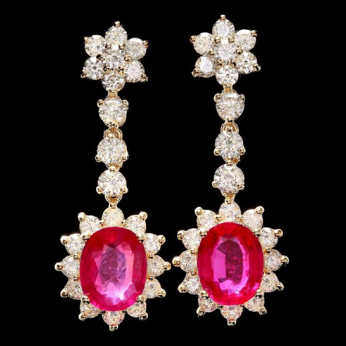14k Gold 6.00ct Ruby 3.0ct Diamond Earrings