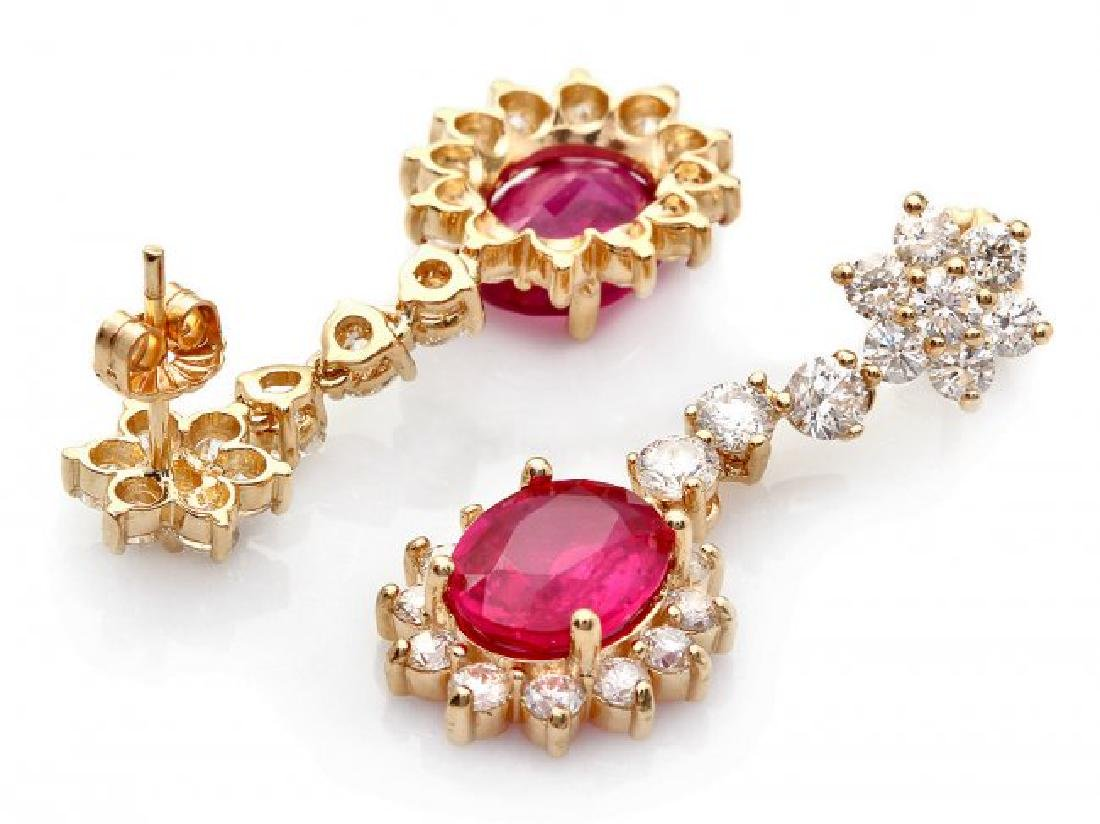 14k Gold 6.00ct Ruby 3.0ct Diamond Earrings - 2