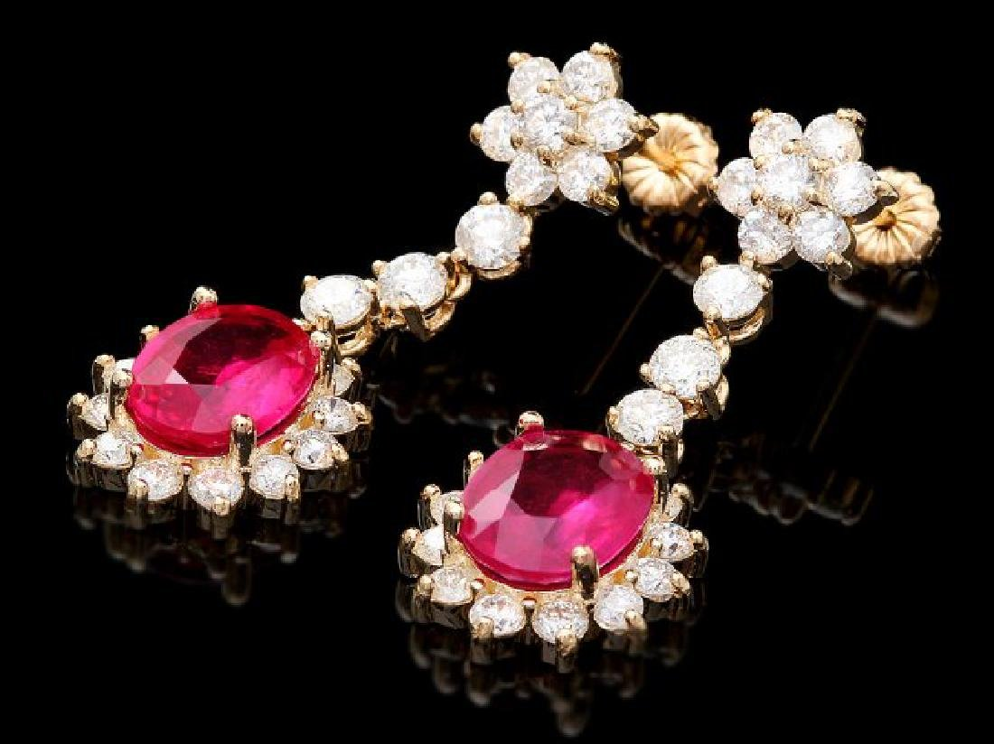 14k Gold 6.00ct Ruby 3.0ct Diamond Earrings - 3