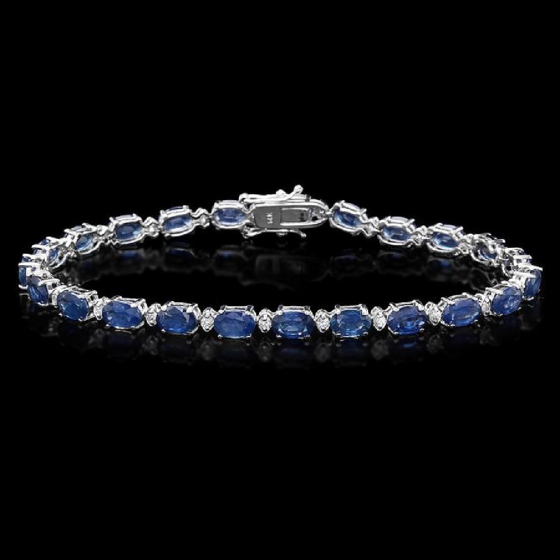14k Gold 12ct Sapphire 0.54ct Diamond Bracelet