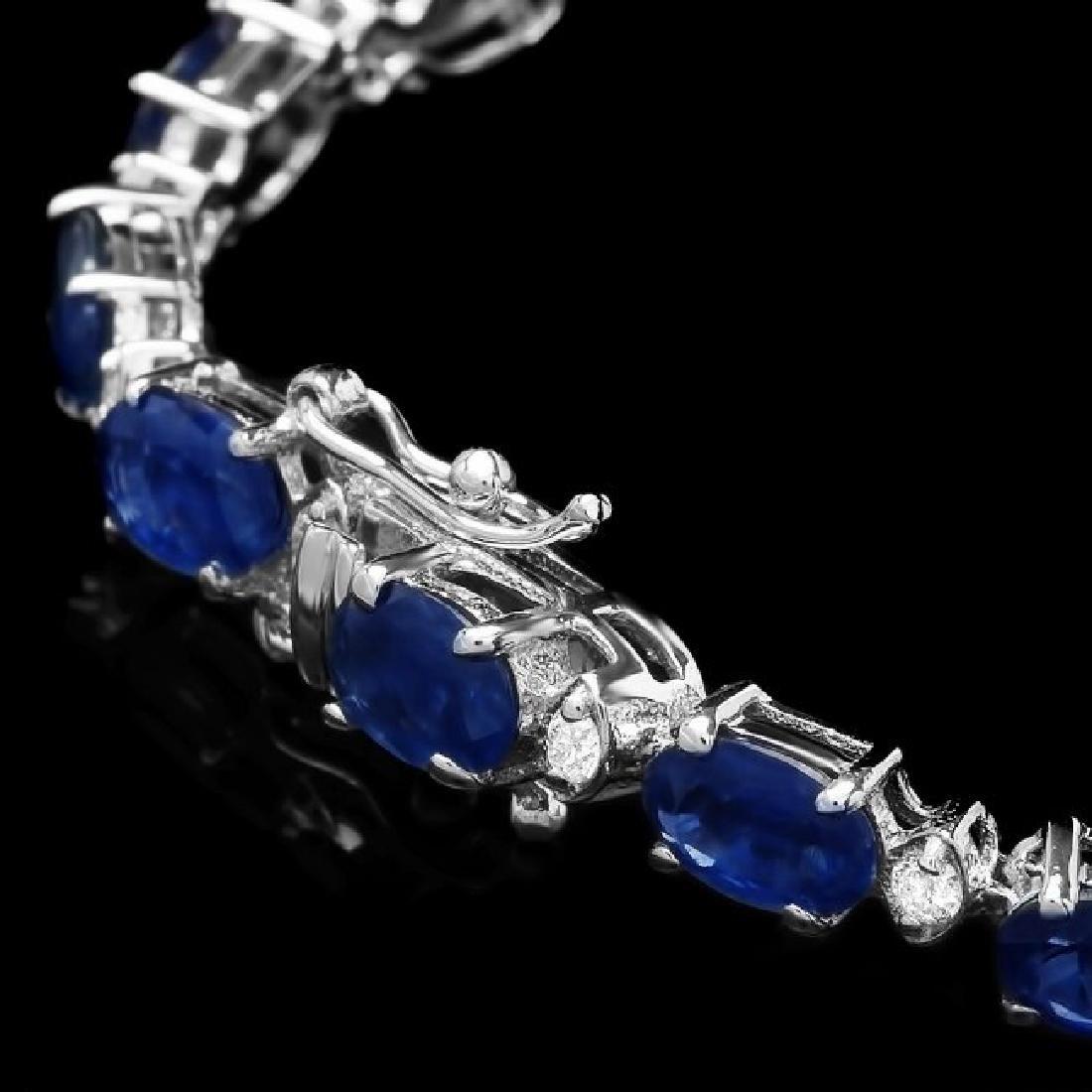 14k Gold 12ct Sapphire 0.54ct Diamond Bracelet - 3