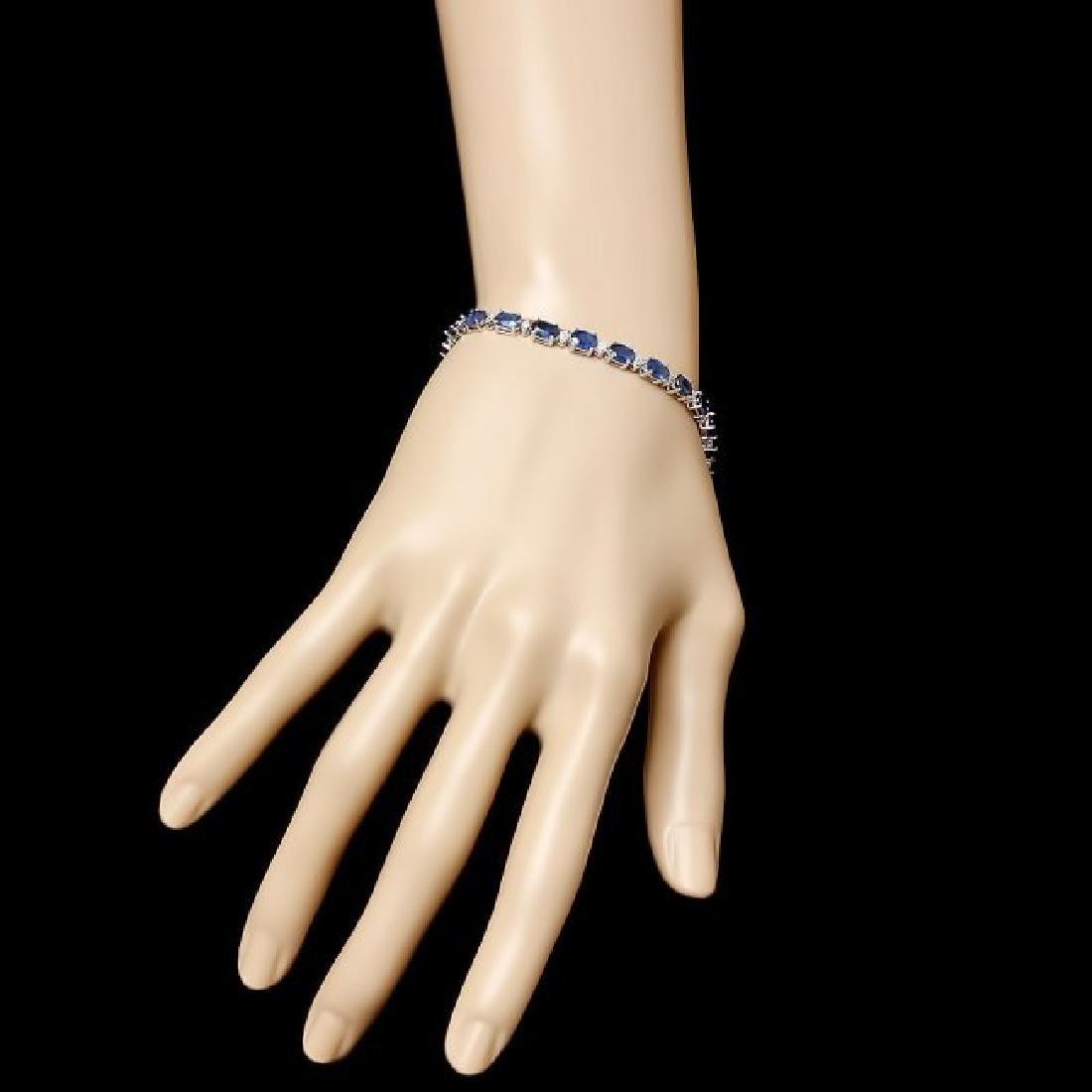 14k Gold 12ct Sapphire 0.54ct Diamond Bracelet - 5