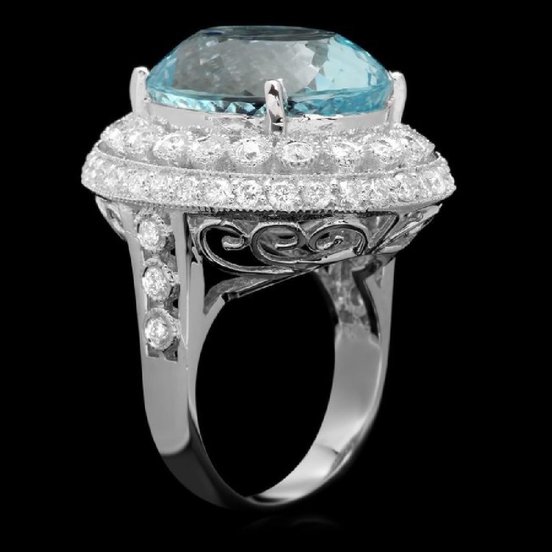 14k Gold 17.50ct Aquamarine 1.90ct Diamond Ring - 2