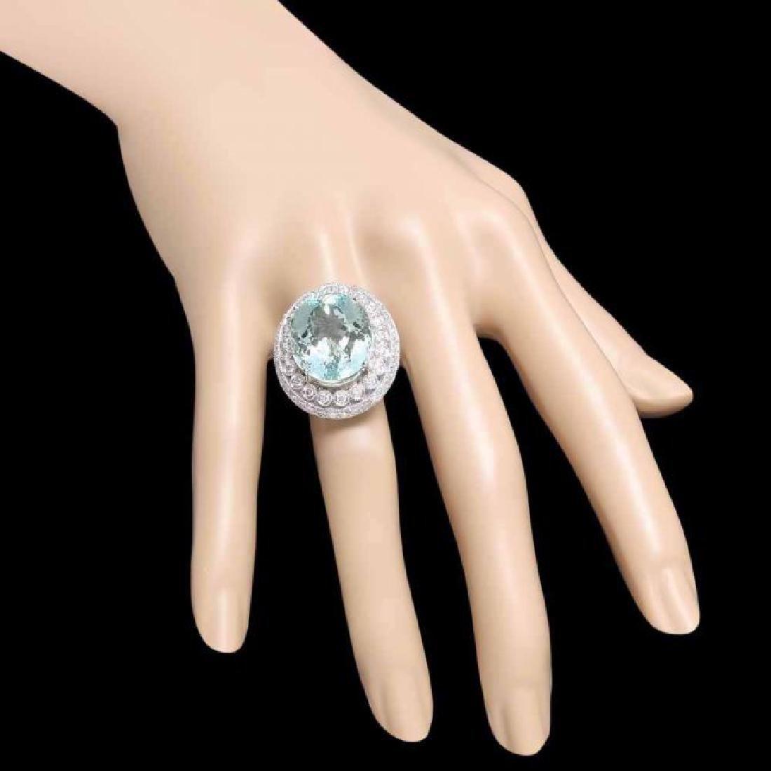 14k Gold 17.50ct Aquamarine 1.90ct Diamond Ring - 3