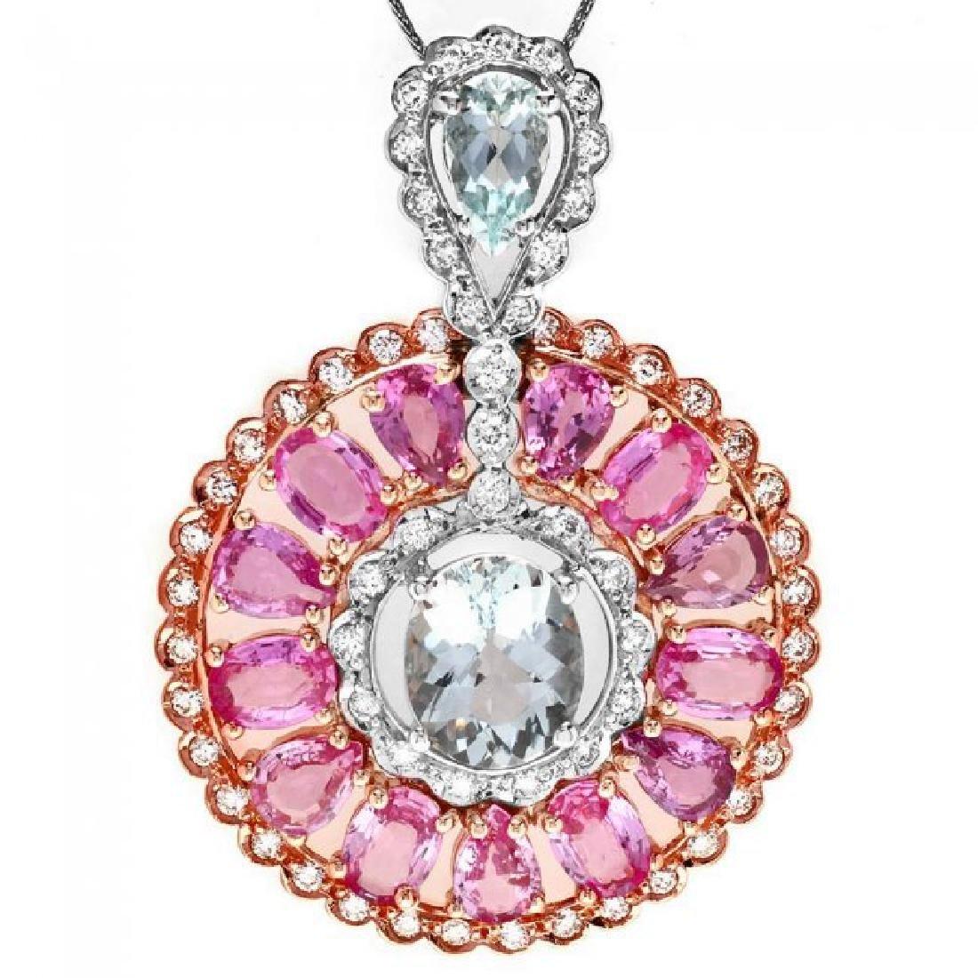 14k Solid Aquamarine Sapphire Diamond Pendant - 2