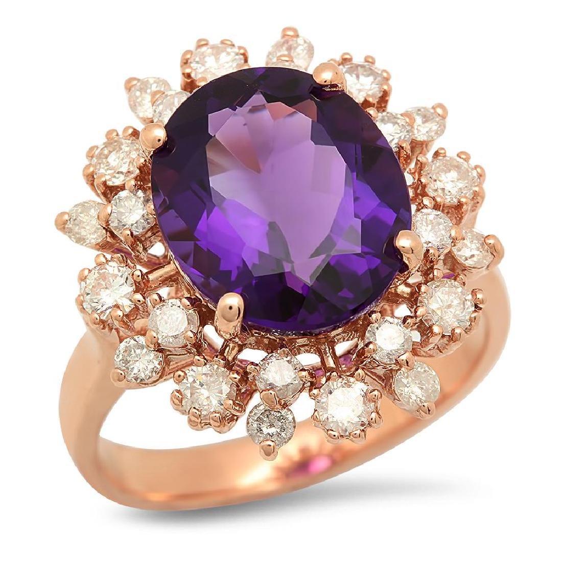 14K Gold 4.54ct Amethyst 1.01cts Diamond Ring