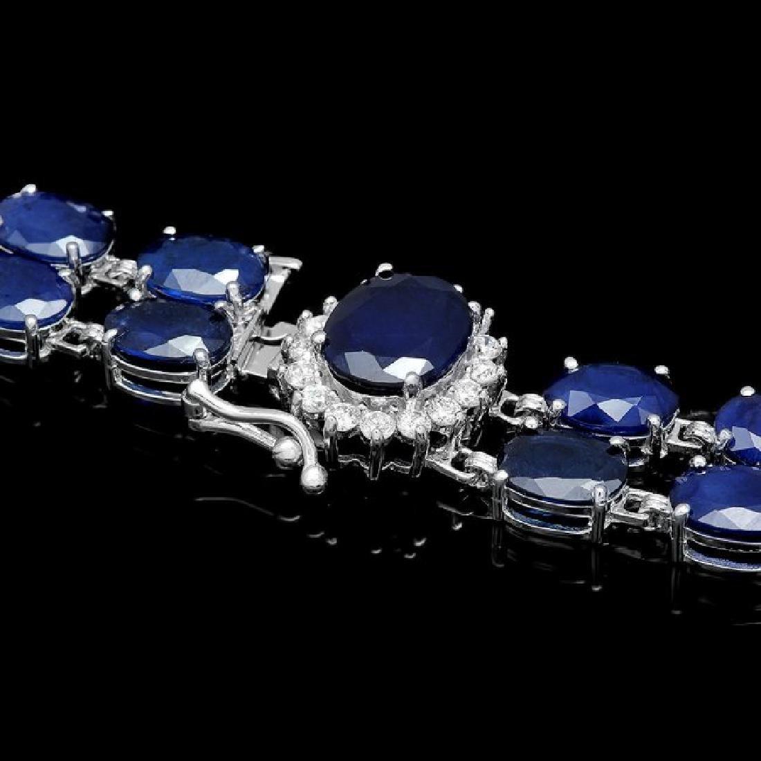 14k Gold 49.5ct Sapphire 0.65ct Diamond Bracelet - 2
