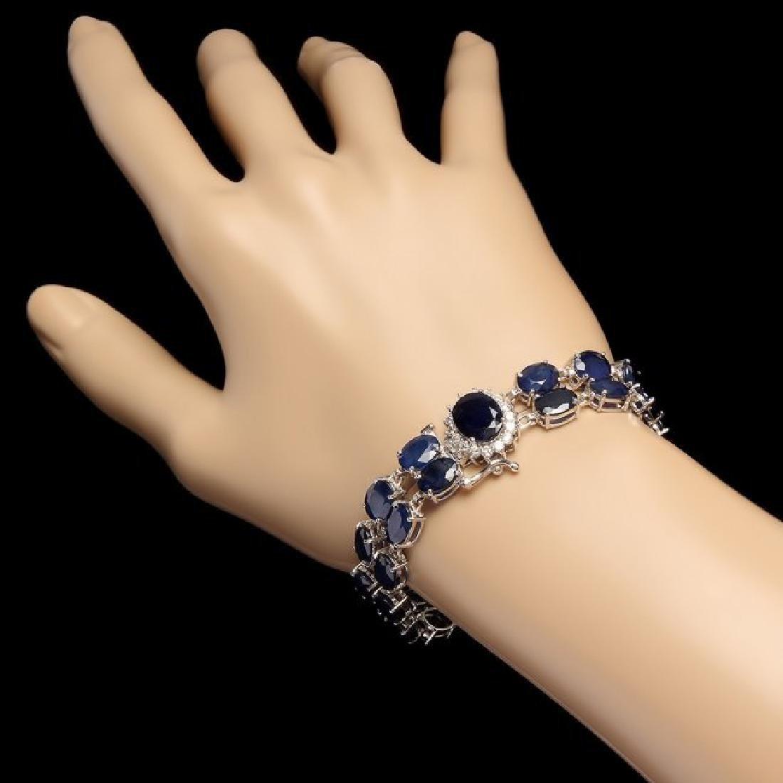 14k Gold 49.5ct Sapphire 0.65ct Diamond Bracelet - 3