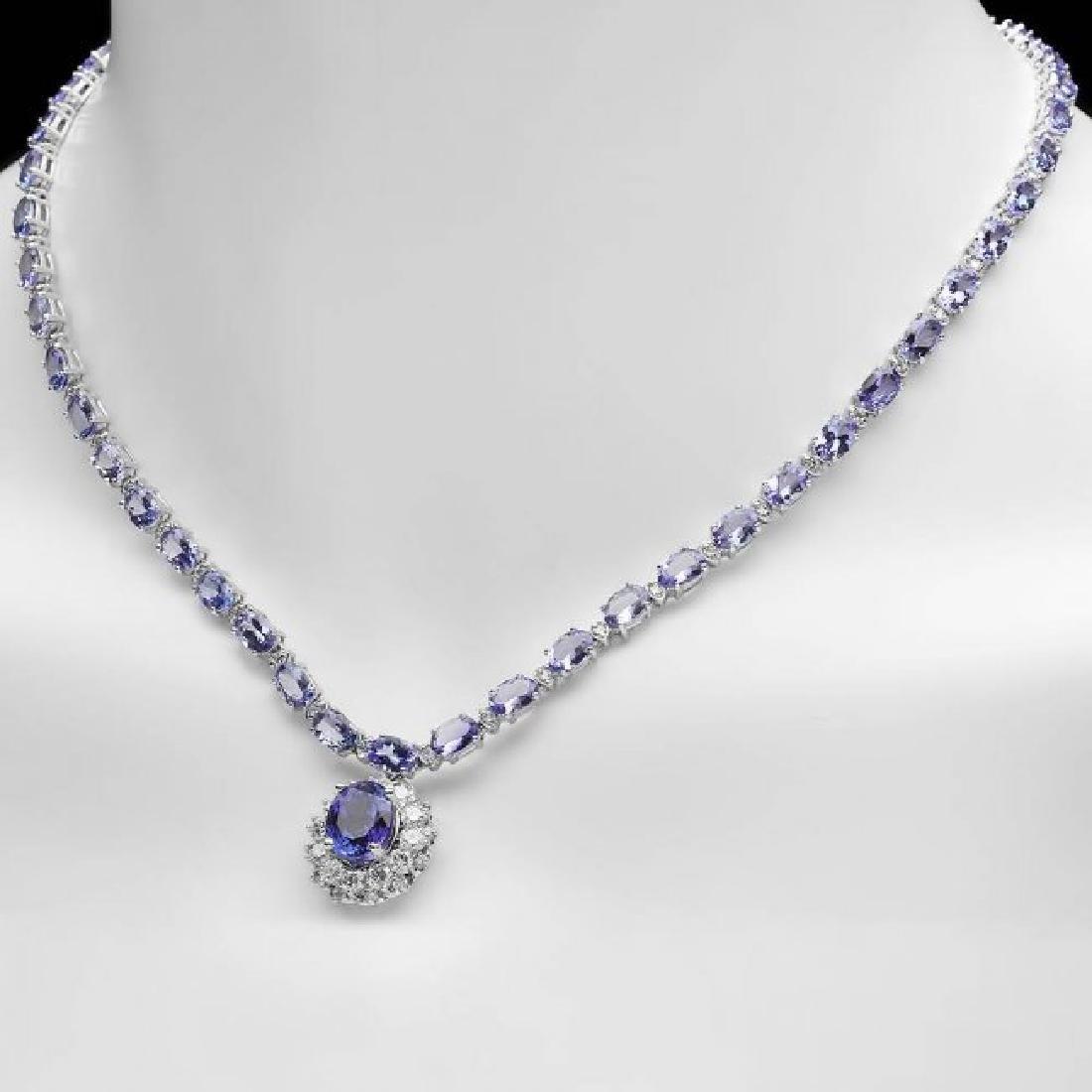 14k Gold 25.5ct Tanzanite 3.00ct Diamond Necklace - 4