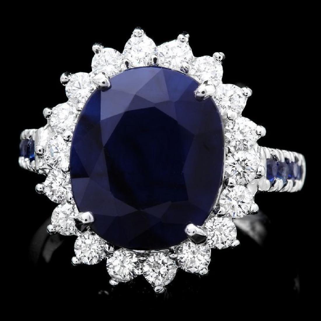 14k White Gold 7.5ct Sapphire 1.00ct Diamond Ring