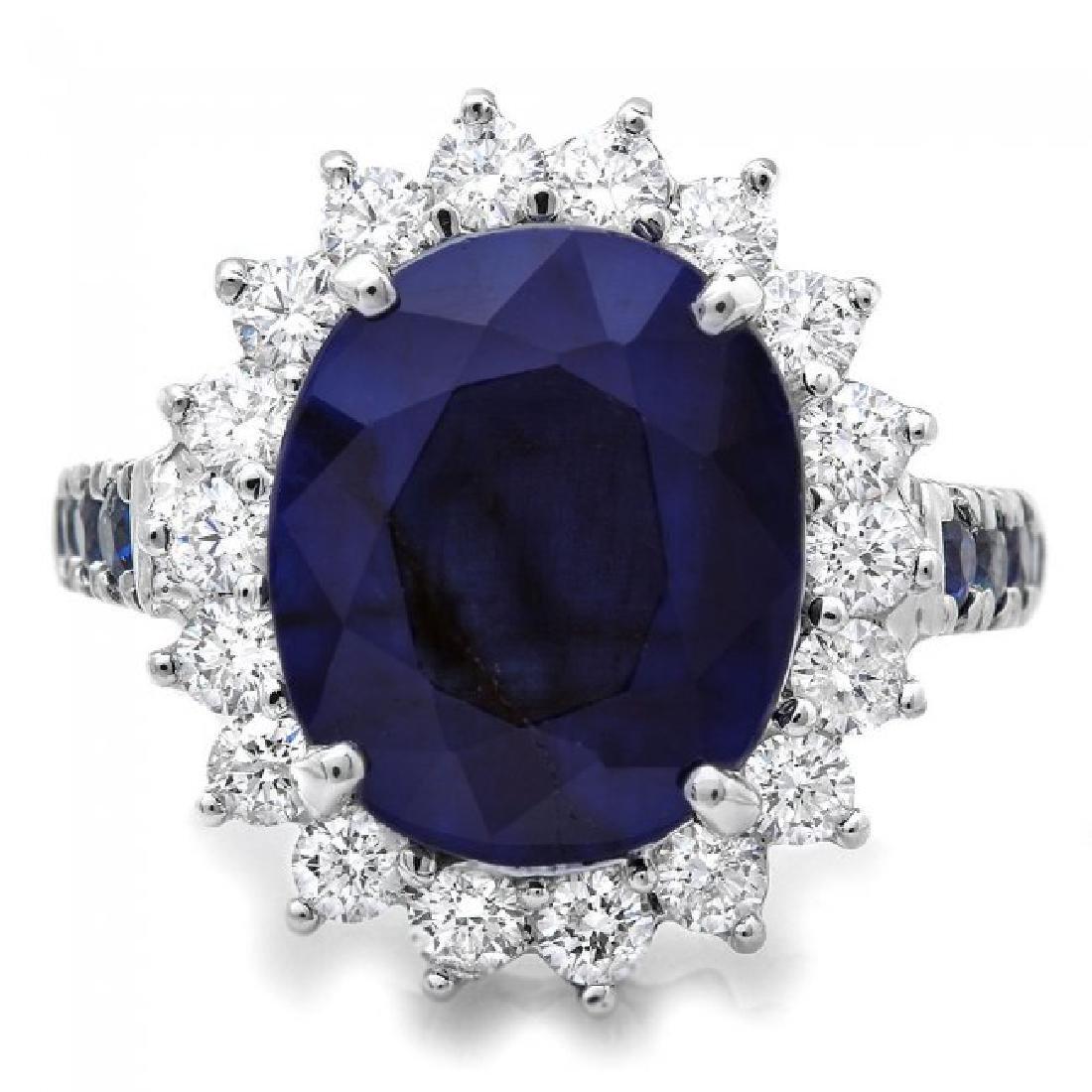 14k White Gold 7.5ct Sapphire 1.00ct Diamond Ring - 2