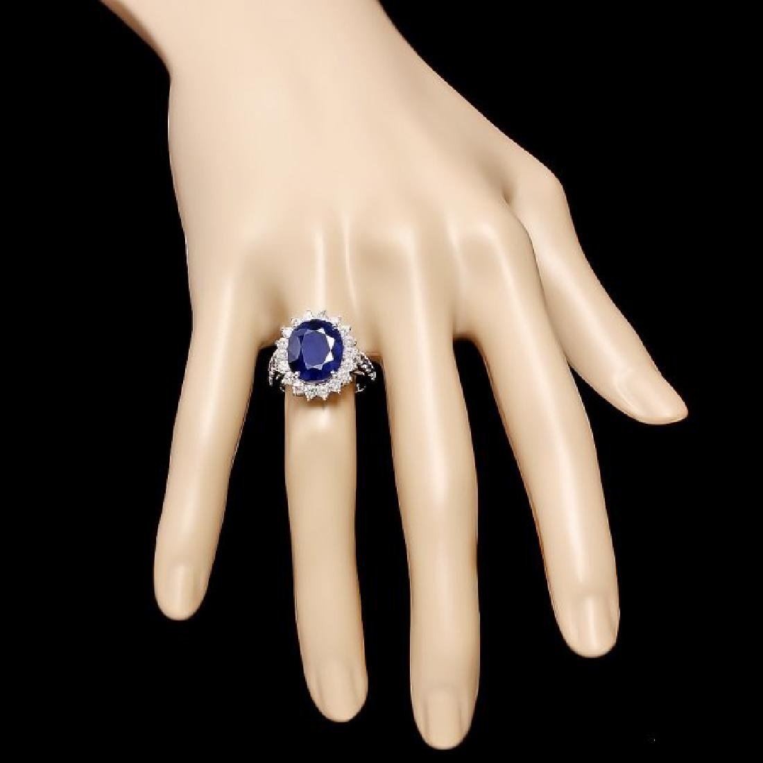 14k White Gold 7.5ct Sapphire 1.00ct Diamond Ring - 4