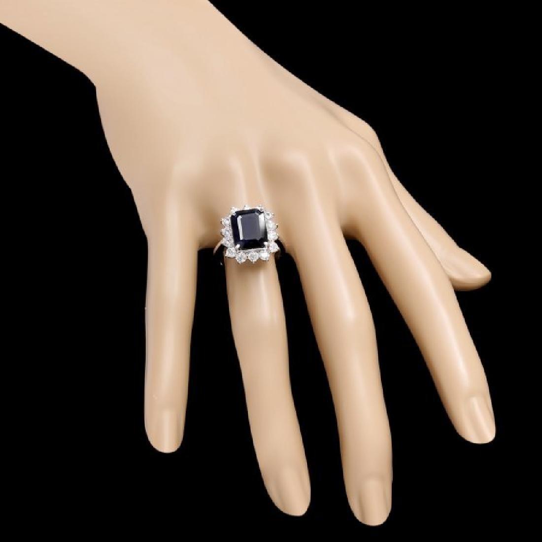 14k Gold 5.00ct Sapphire 1.15ct Diamond Ring - 3