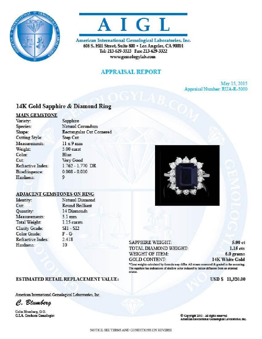 14k Gold 5.00ct Sapphire 1.15ct Diamond Ring - 4
