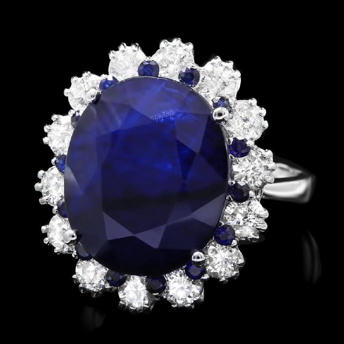 14k Gold 11.5ct Sapphire 1.40ct Diamond Ring