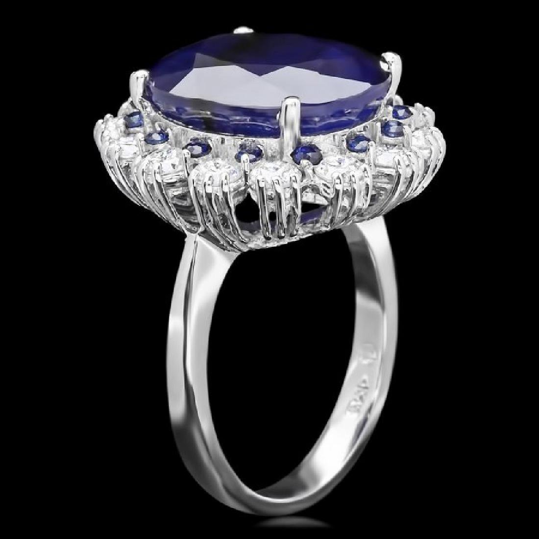 14k Gold 11.5ct Sapphire 1.40ct Diamond Ring - 2