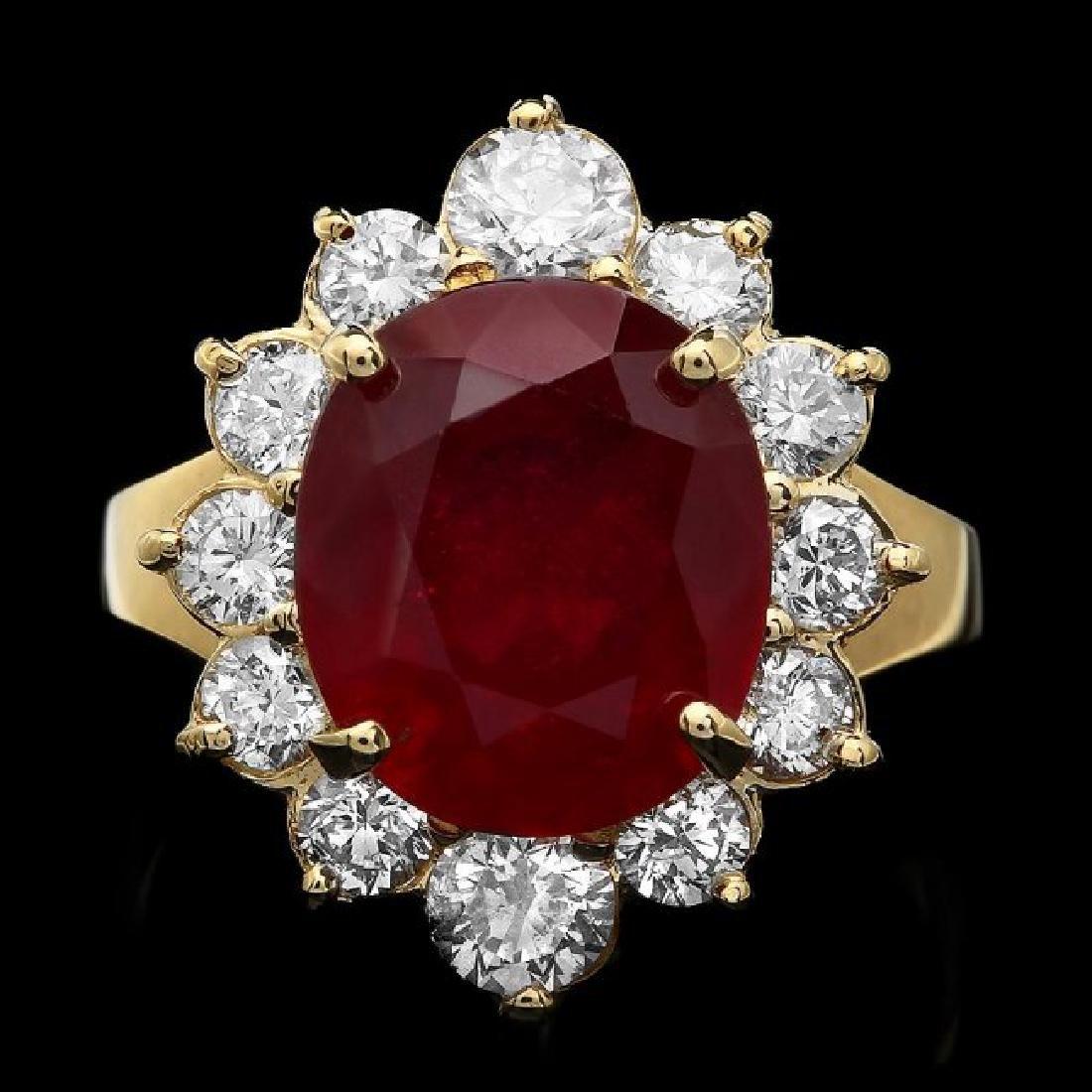 14k Yellow Gold 7.00ct Ruby 1.50ct Diamond Ring - 2