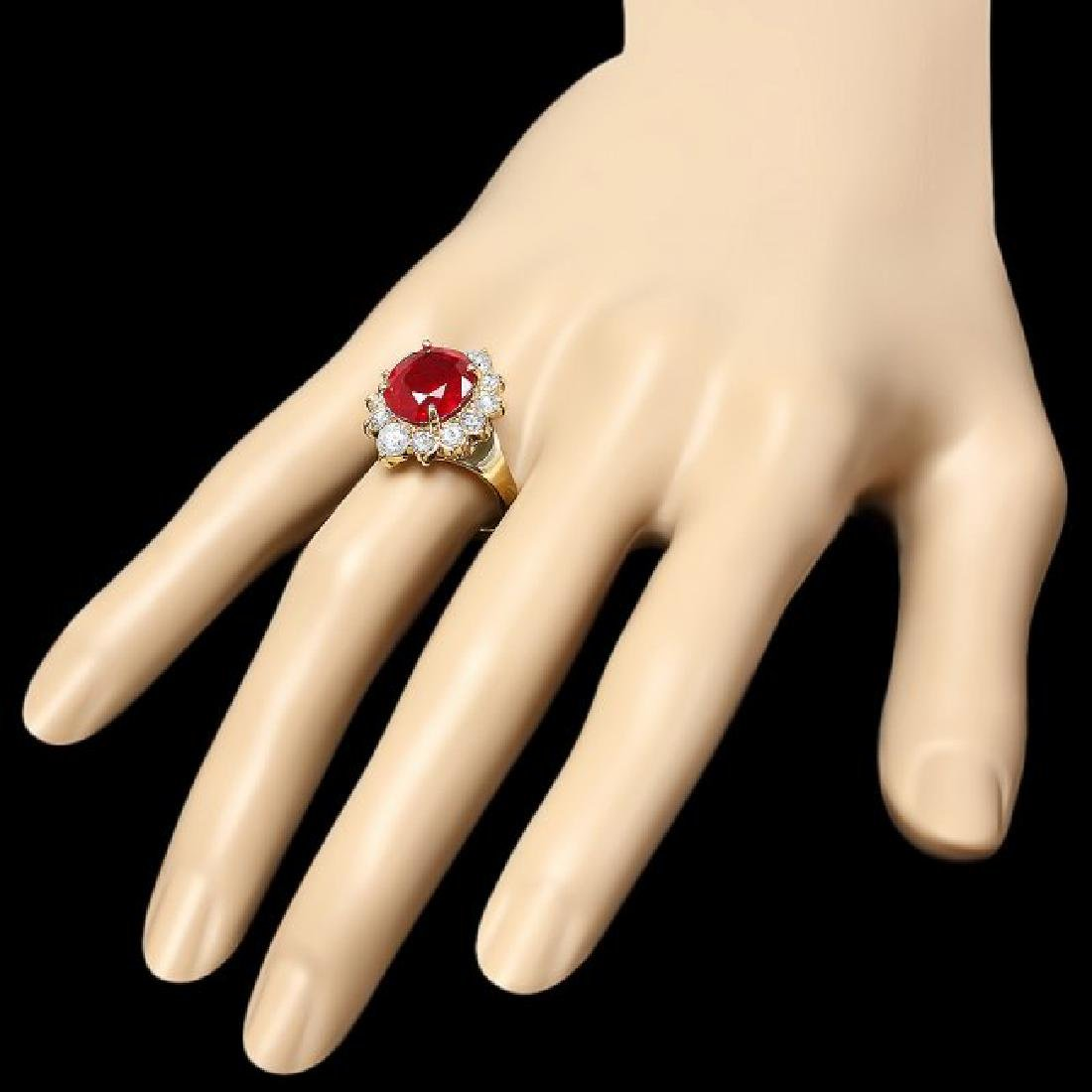 14k Yellow Gold 7.00ct Ruby 1.50ct Diamond Ring - 3