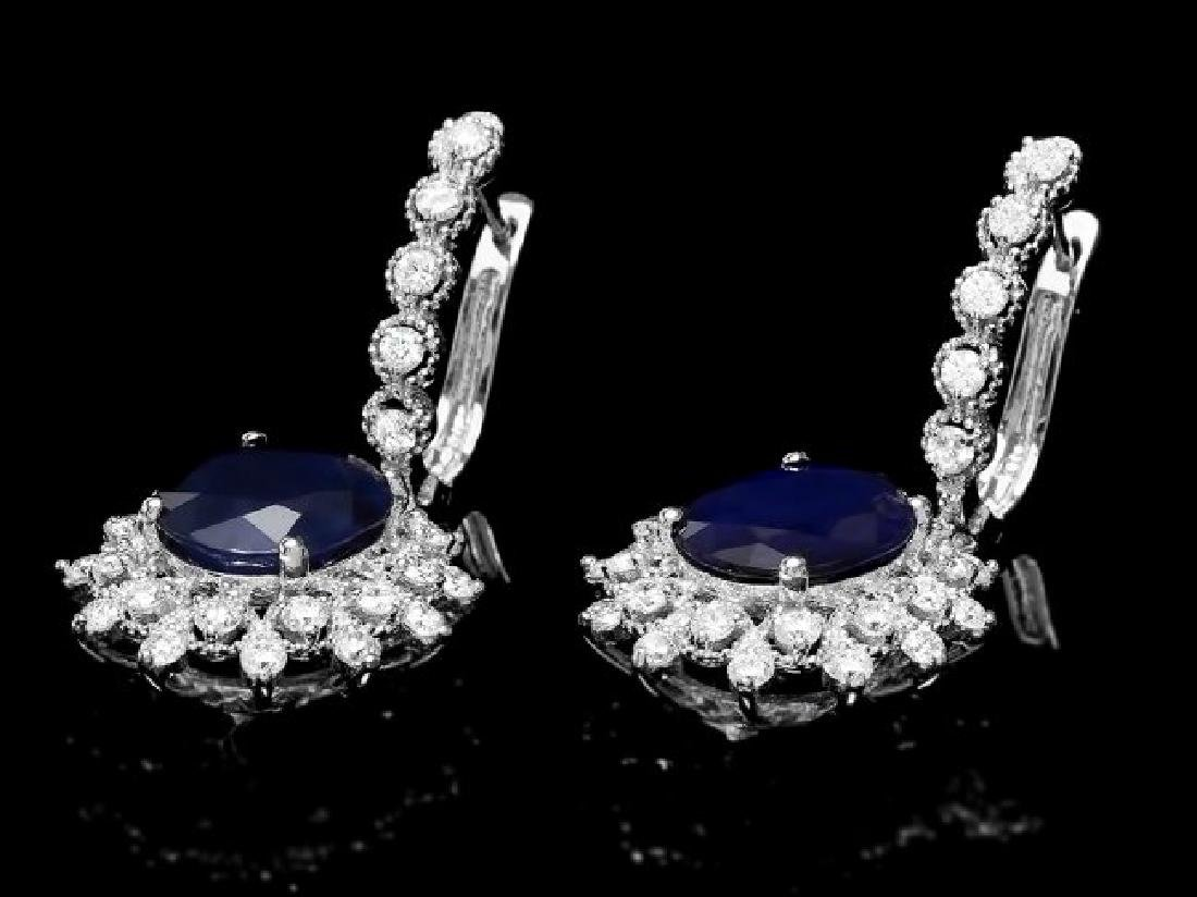 14k Gold 8.00ct Sapphire 1.80ct Diamond Earrings - 2