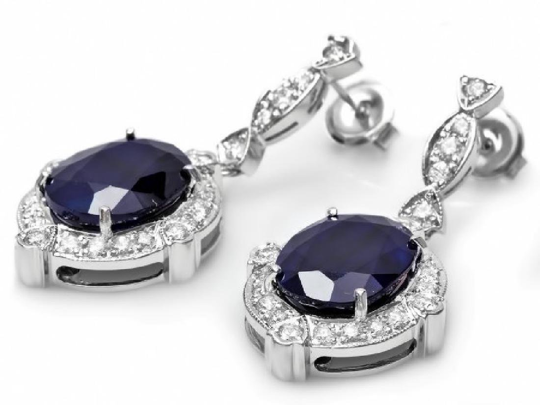 14k Gold 21ct Sapphire 1.70ct Diamond Earrings - 2