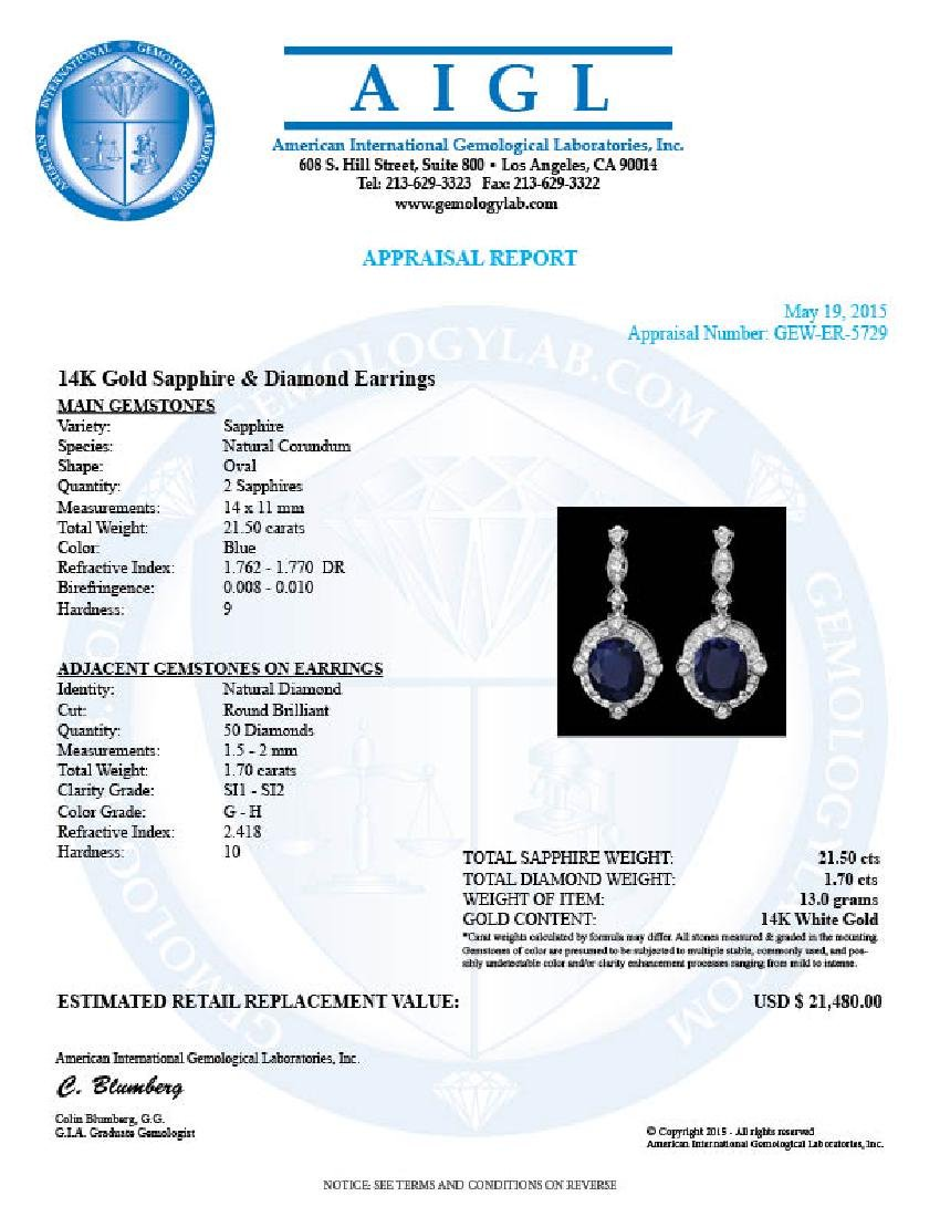 14k Gold 21ct Sapphire 1.70ct Diamond Earrings - 5