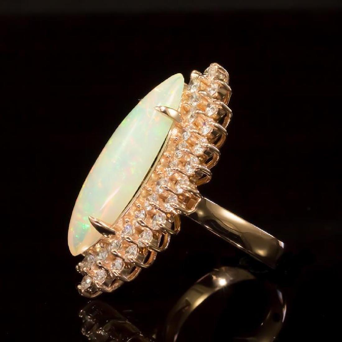 14K Gold 5,33ct Opal 2.85ct Diamond Ring - 2