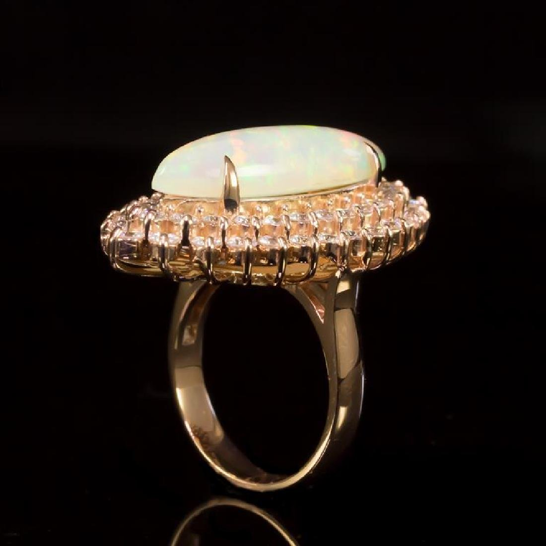 14K Gold 5,33ct Opal 2.85ct Diamond Ring - 3